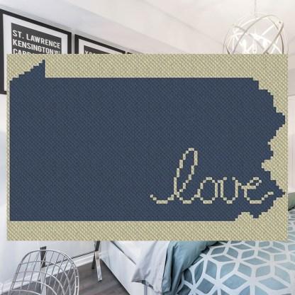Pennsylvania Love C2C Afghan Crochet Pattern for corner to corner graphghan cross stitch Blue Frog Creek