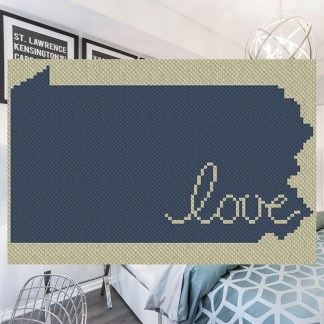 Pennsylvania Love C2C Afghan Crochet Pattern for corner to corner graphghan cross stitch Blue Frog Creek