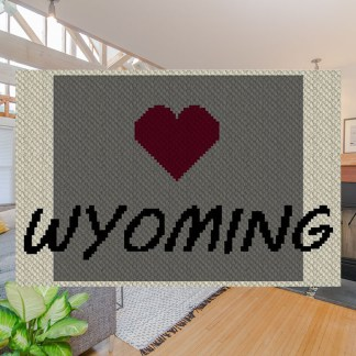 Heart Wyoming C2C Afghan Crochet Pattern Corner to Corner Graphghan Cross-Stitch Blue Frog Creek