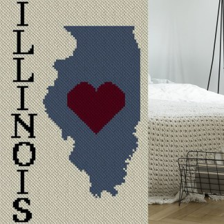 Heart Illinois C2C Afghan Crochet Pattern Corner to Corner Graphghan Cross Stitch Blue Frog Creek