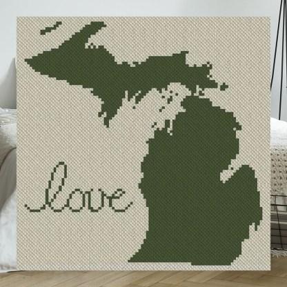 Michigan Love C2C Afghan Crochet Pattern Corner to Corner Blanket Pattern Blue Frog Creek