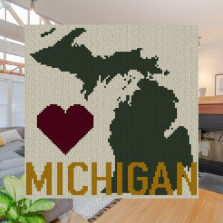 Heart Michigan C2C Crochet Pattern Corner to Corner Graphghan Blue Frog Creek