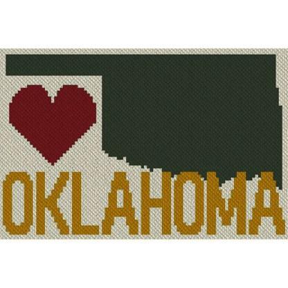 Heart Oklahoma c2C Afghan Crochet Pattern Corner to Corner Blanket Blue Frog Creek