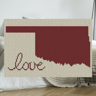 Oklahoma Love C2C Afghan Crochet Pattern Corner to Corner Blanket Blue Frog Creek