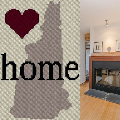 New Hampshire Home C2C Afghan Crochet Pattern Corner to Corner Graphghan Cross Stitch Blue Frog Creek