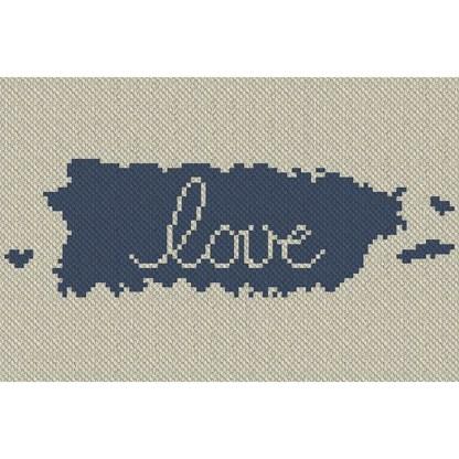Puerto Rico Love C2C Afghan Crochet Pattern Corner to Corner Blanket Cross Stitch Graphghan Blue Frog Creek