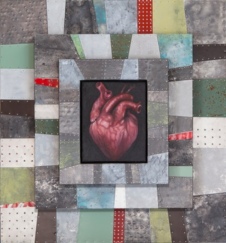"Lori Raye Erickson / Joe Gregory ""Follow Your Heart"" oil on canvas, lead, aluminum, steel, enamel 33"" x 31"" x 7"""