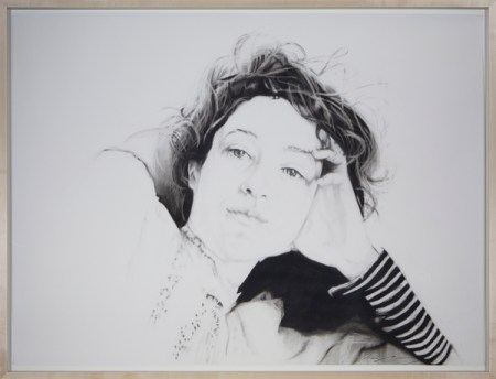 "Ruth Shively, Lace, charcoal and graphite on paper 38.5"" x 50.5"" $1650"