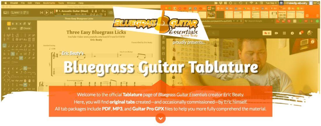Bluegrass Guitar Tablature by Eric Beaty