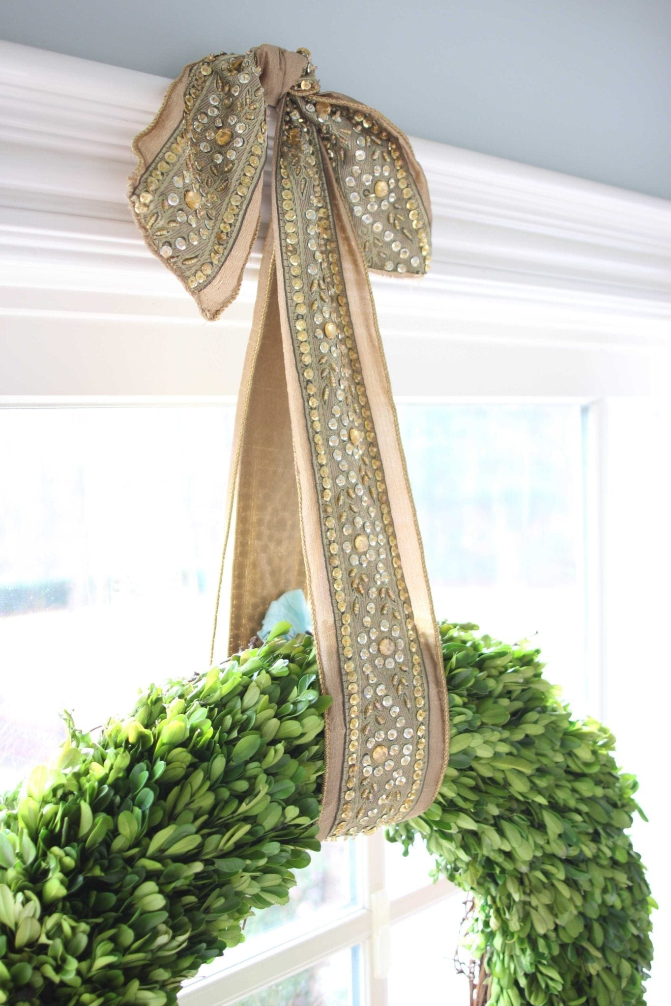 Frontgate holiday ribbon in gold with sequin.