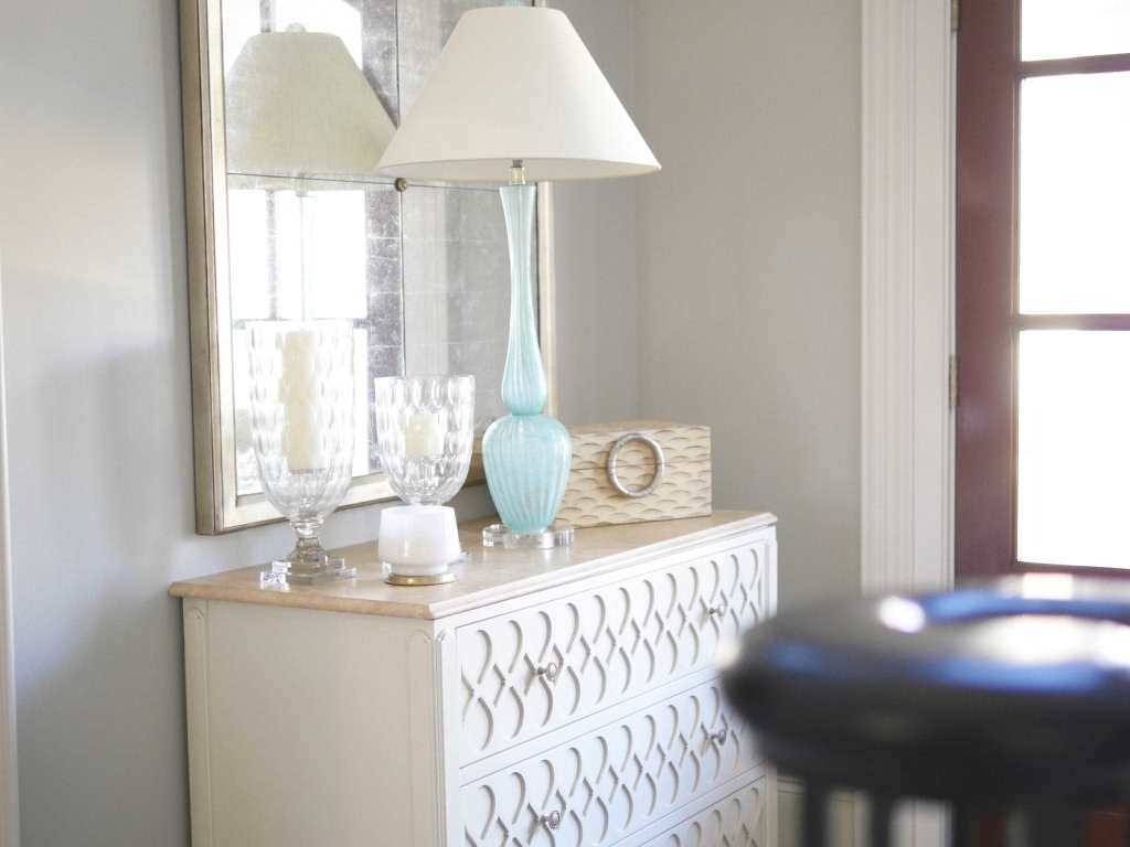 Hickory White Chest with mint blue table and Global Views accessories.