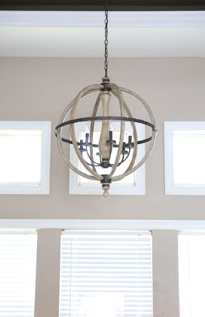 wood and iron sphere chandelier