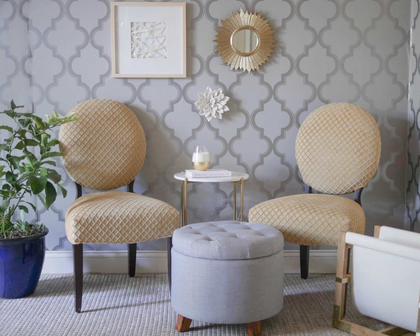 Nate Burkus Home at Target with pieces in a living room with removable wallpaper