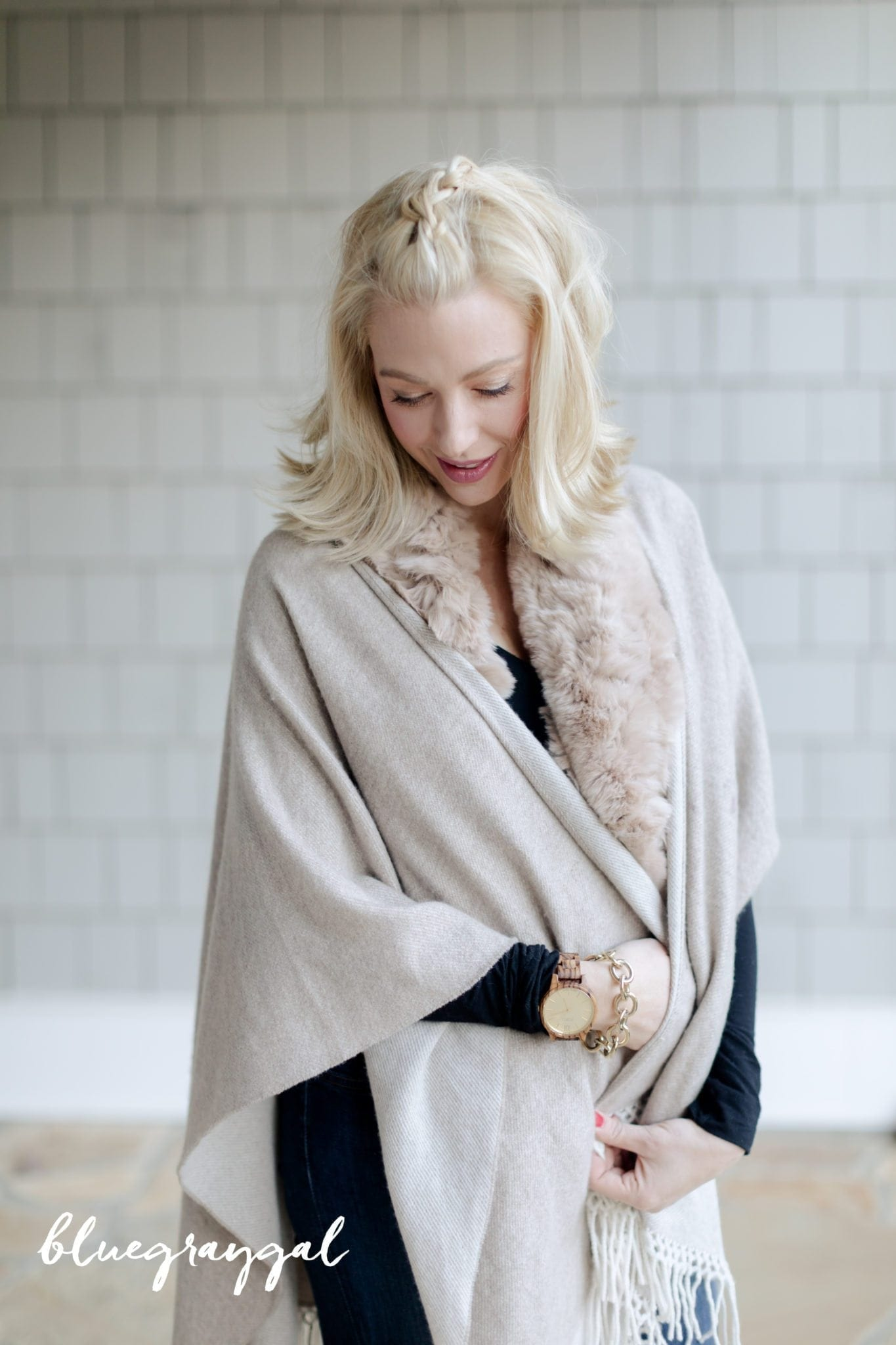 Fur Scarf and cashmere cape.