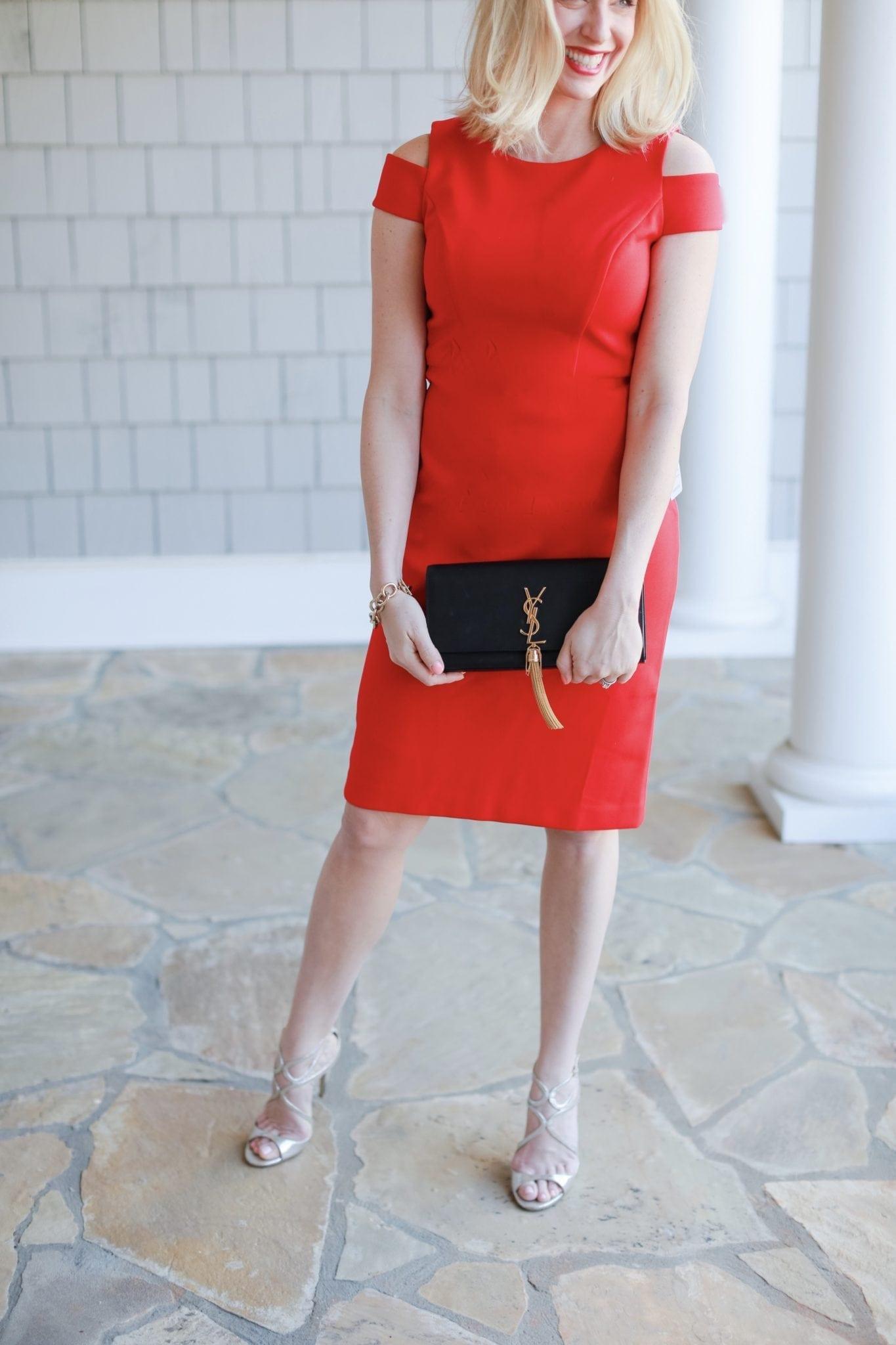 YSL Tassel clutch. Red body con dress.