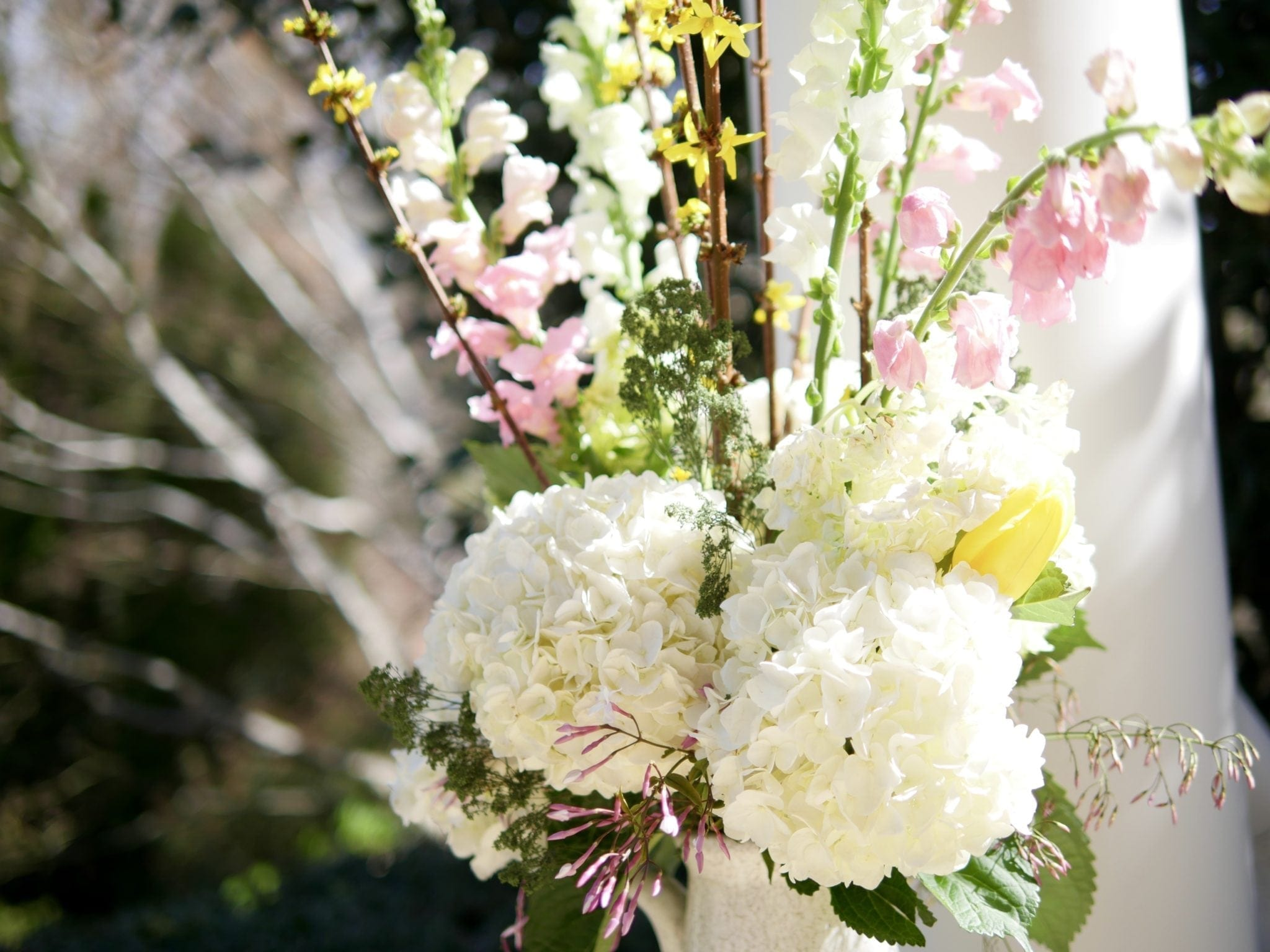 Spring flower arrangements with Snapdragons.
