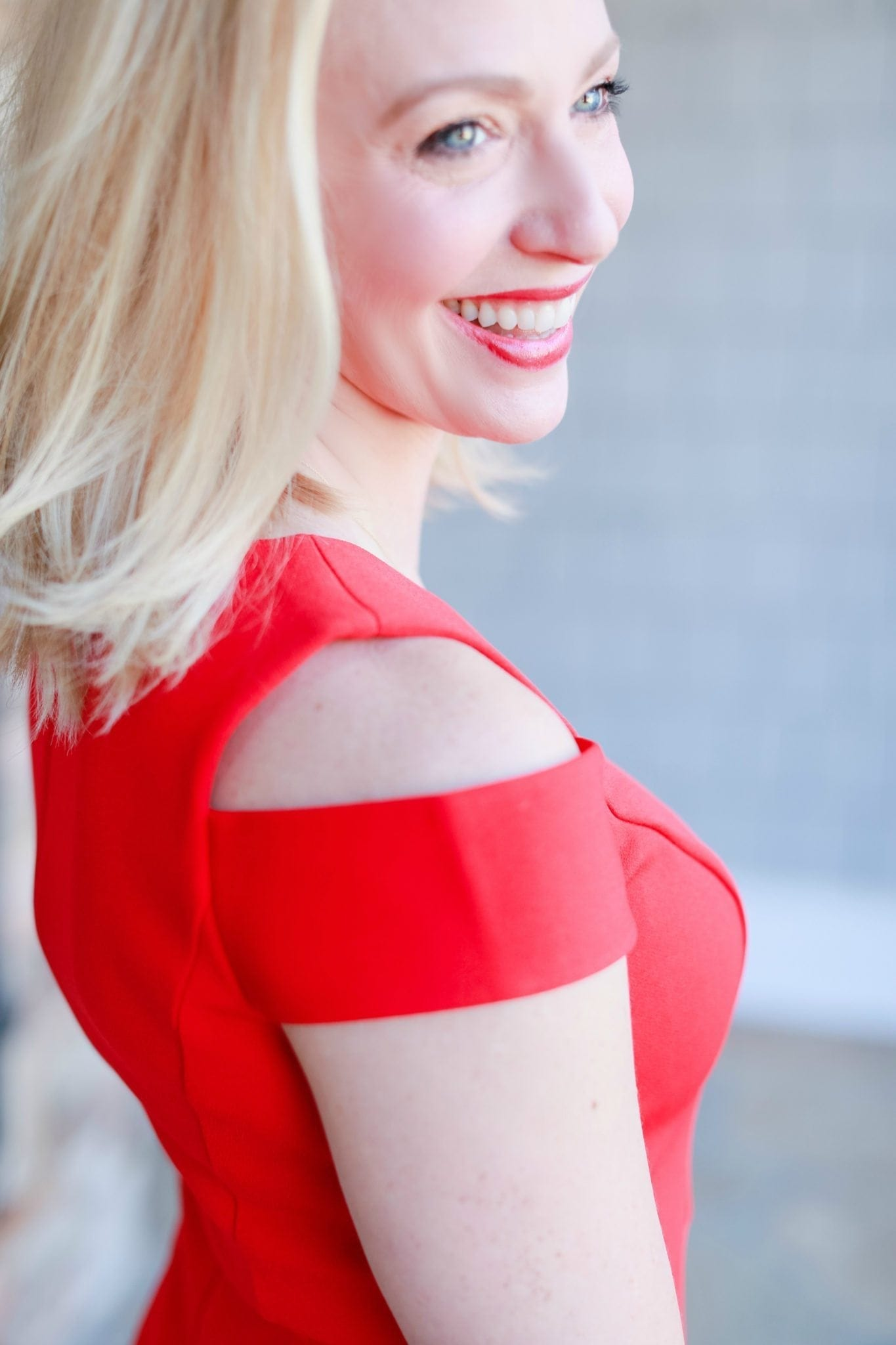 Red cocktail dress. Dress for women with cut out shoulders.