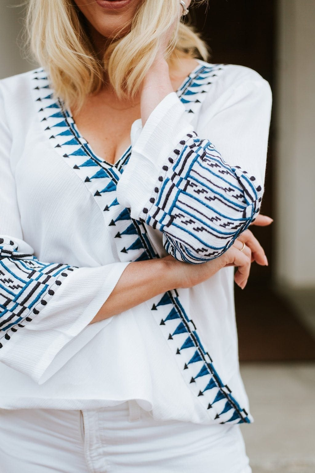 Summer shirt for women. Perfect white shirt for vacation. blue white embroidered shirt