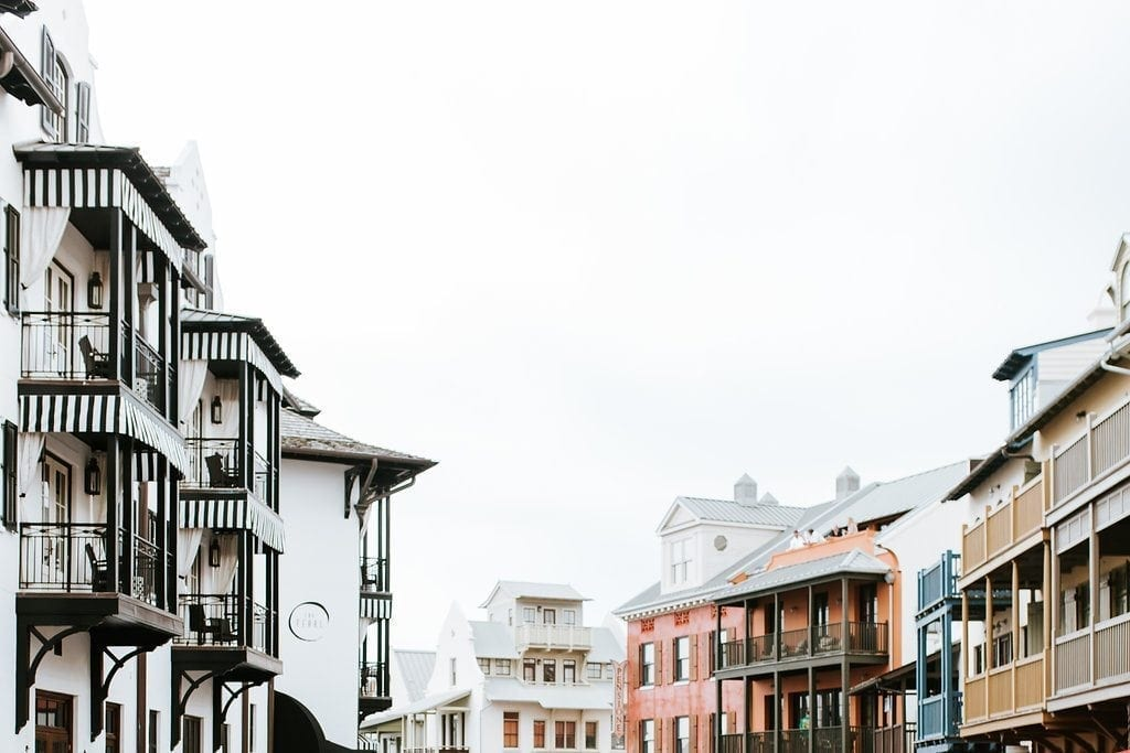 Where to shop at Rosemary Beach. Vacation places in the panhandle of Florida. Black and white awnings and bright colored houses make this city in Florida a great place for a family vacation. Travel information for Florida Panhandle.