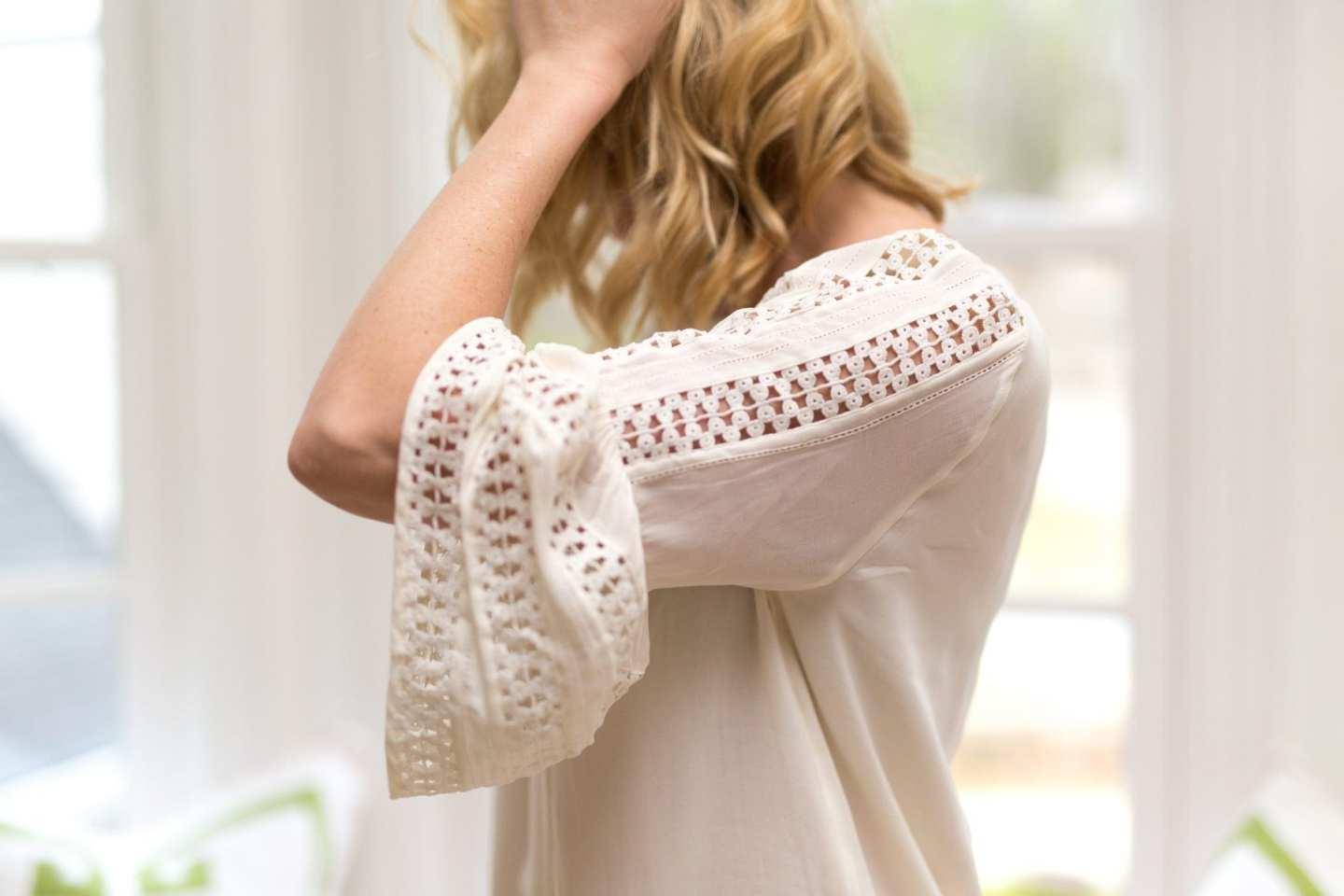 Lace bell sleeves.