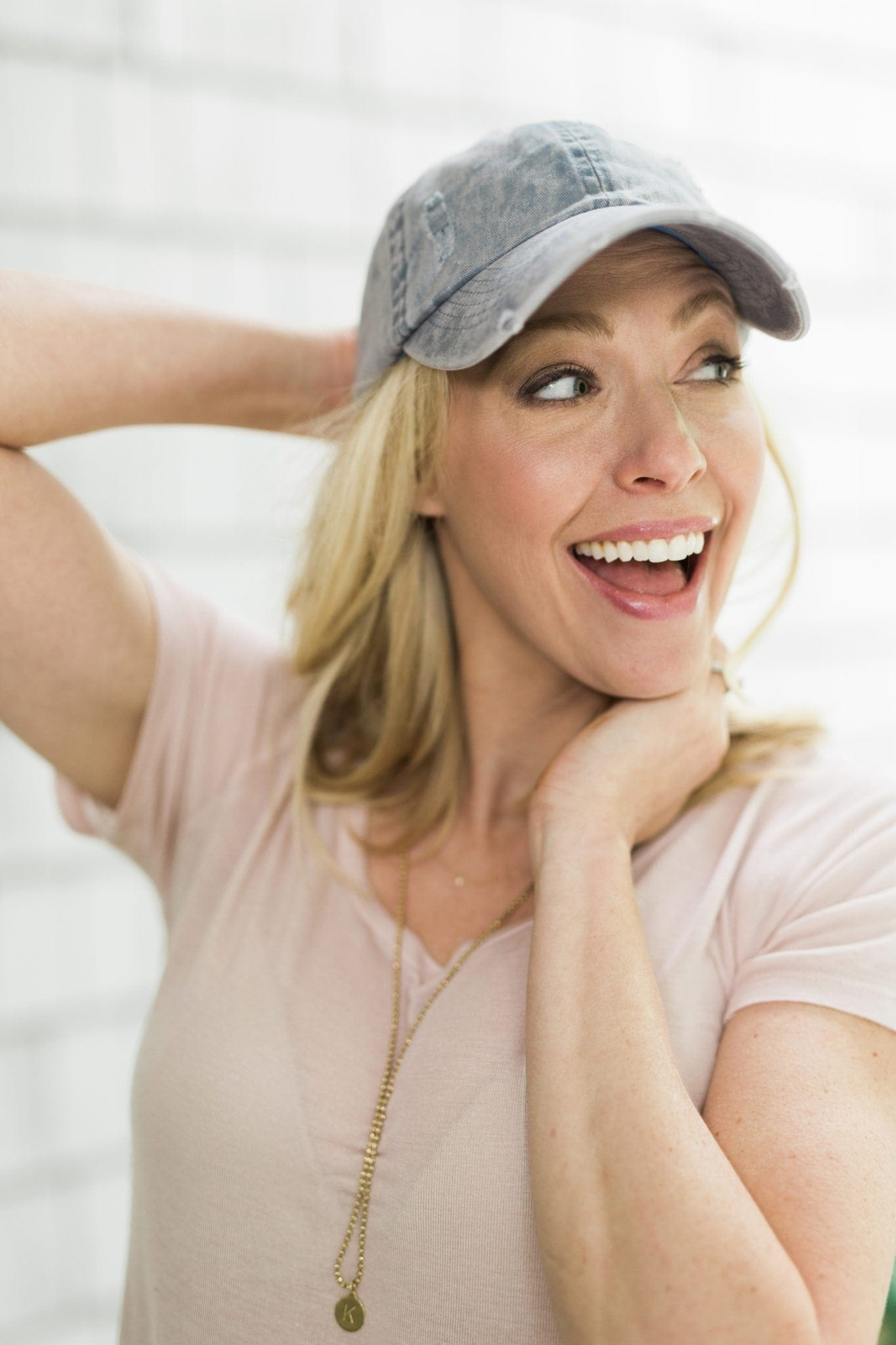 Blue denim baseball cap. The perfect bad hair day disguise! I love the distressed women hat with a blush colored tee shirt.