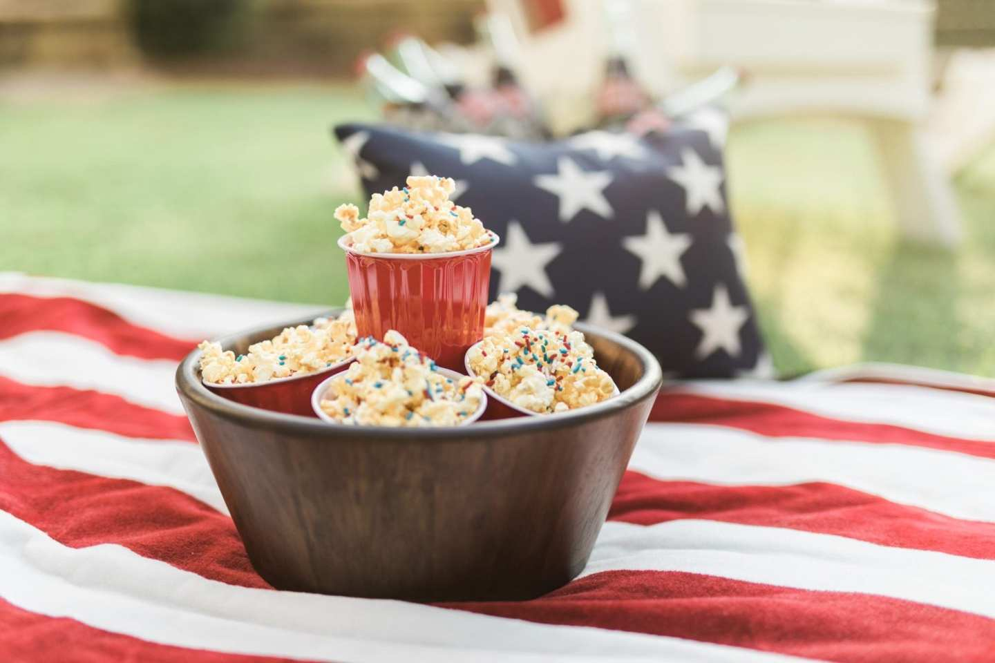 Fun 4th of july food ideas with popcorn with sprinkles for kids and easy fourth of july food ideas for everyone.