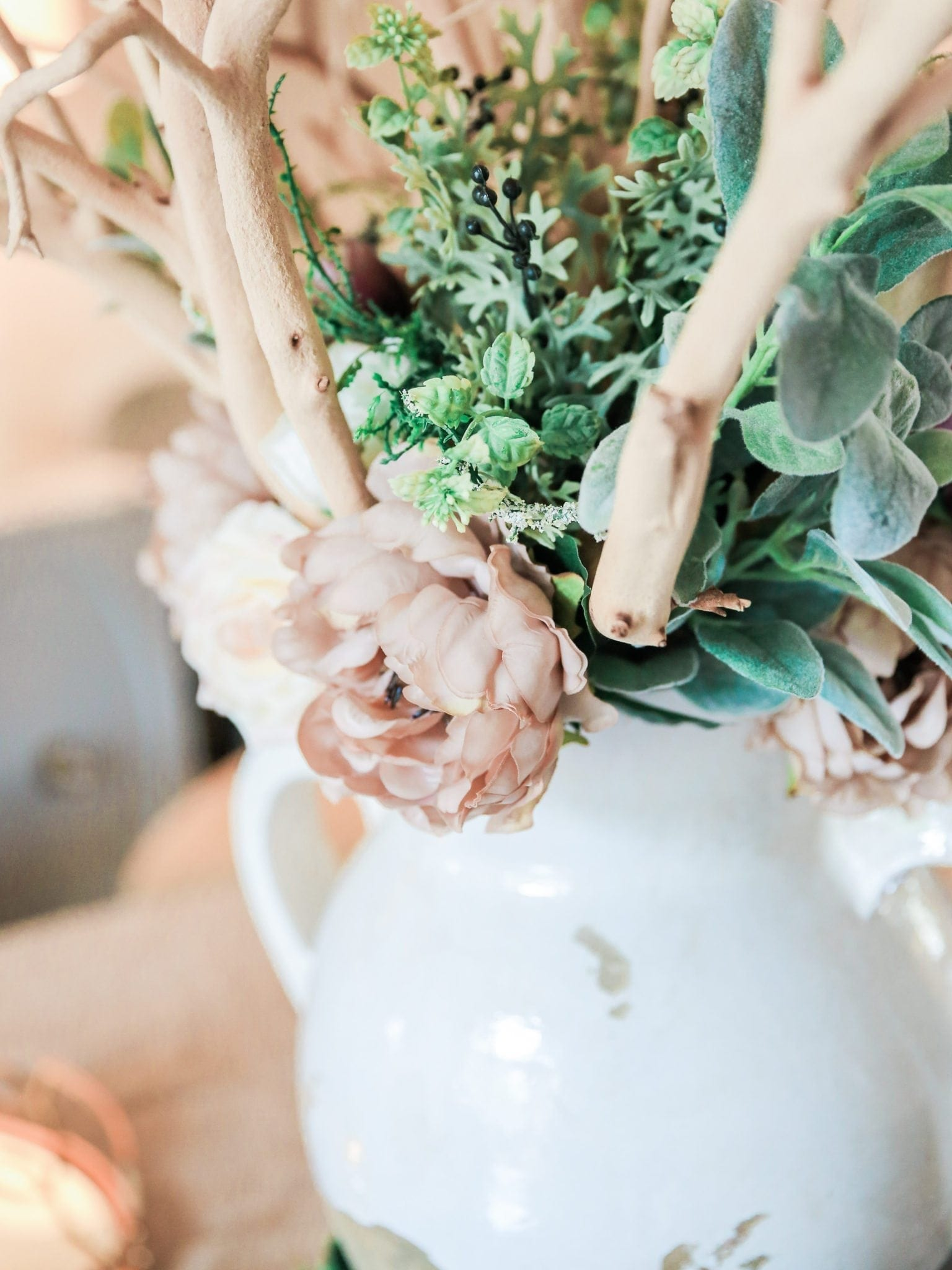 Silk peonies and silk greenery for real touch flowers.