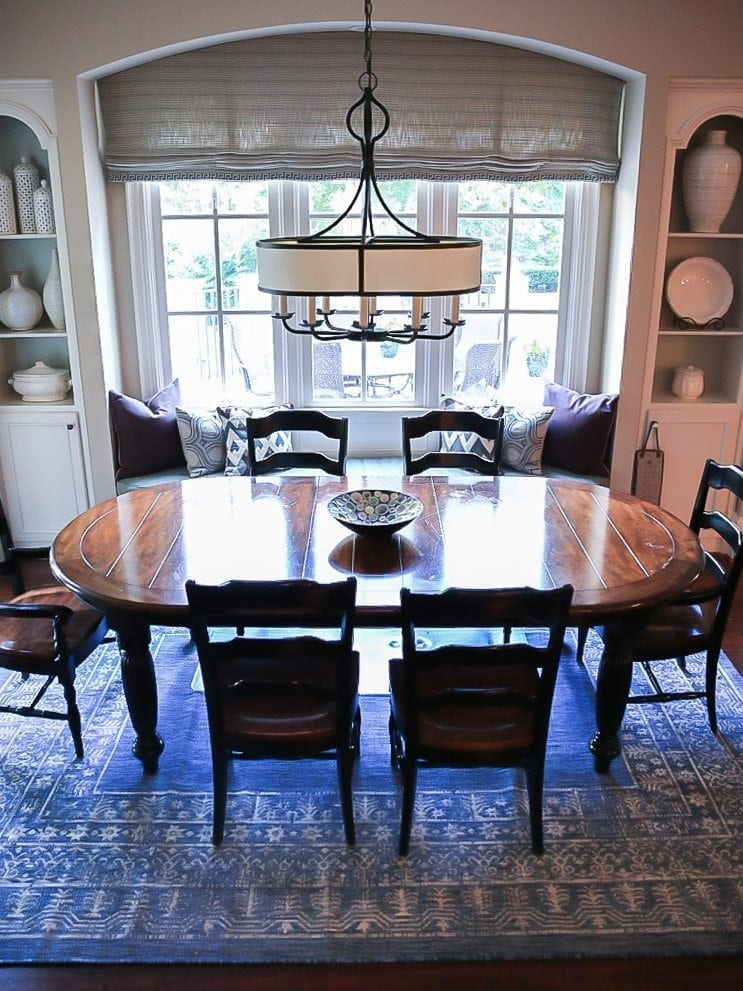 How to protect carpet under dining table. Dining Room inspiration and Frontgate indoor outdoor rug.