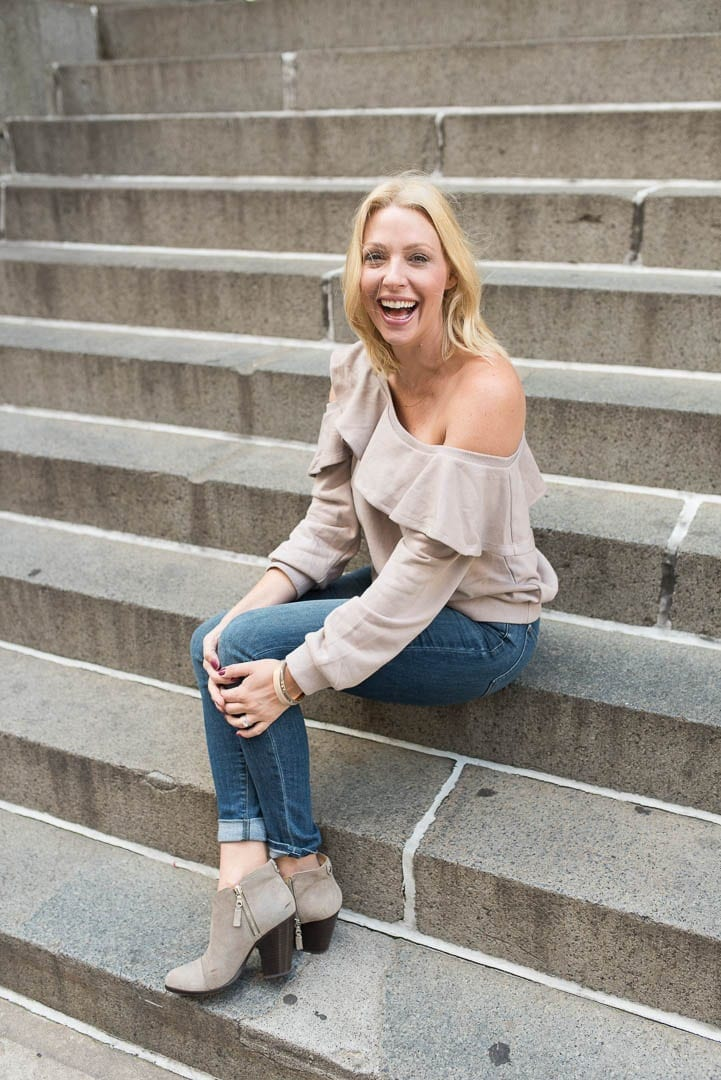 Dusty pink off the shoulder sweatshirt and Rag and Bone Margot booties.