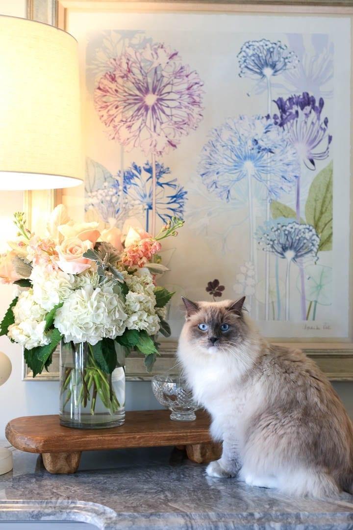 Rag dol kitten by flower arrangement with wooden pedestal.