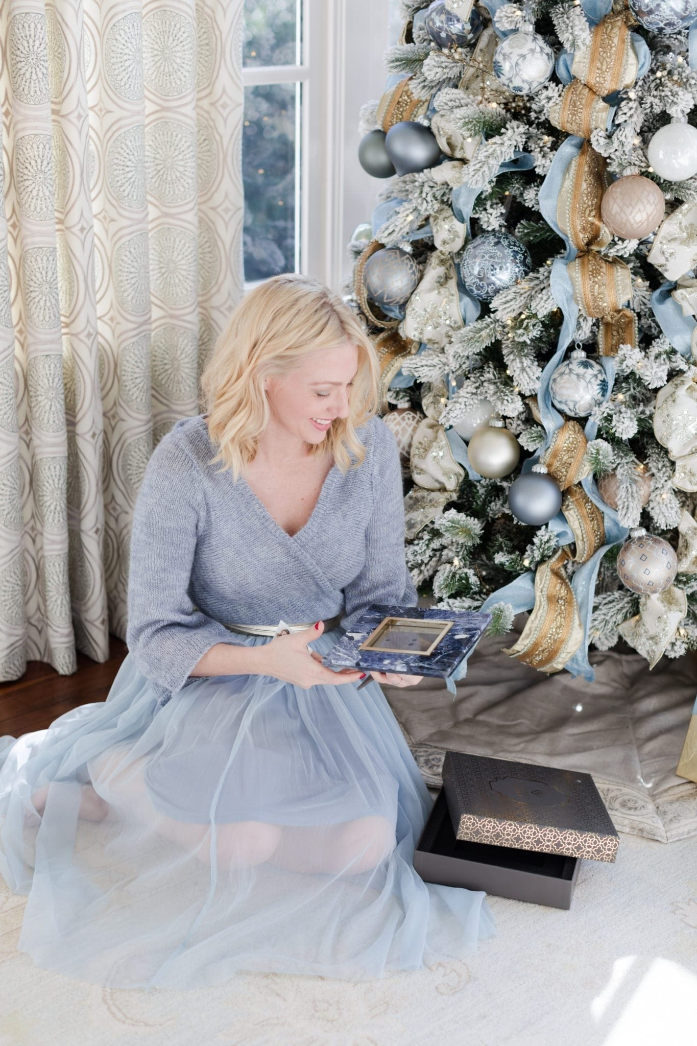 Last minute gift ideas all under $50. Blue dress from Anthropologie and blue and gold Christmas tree.