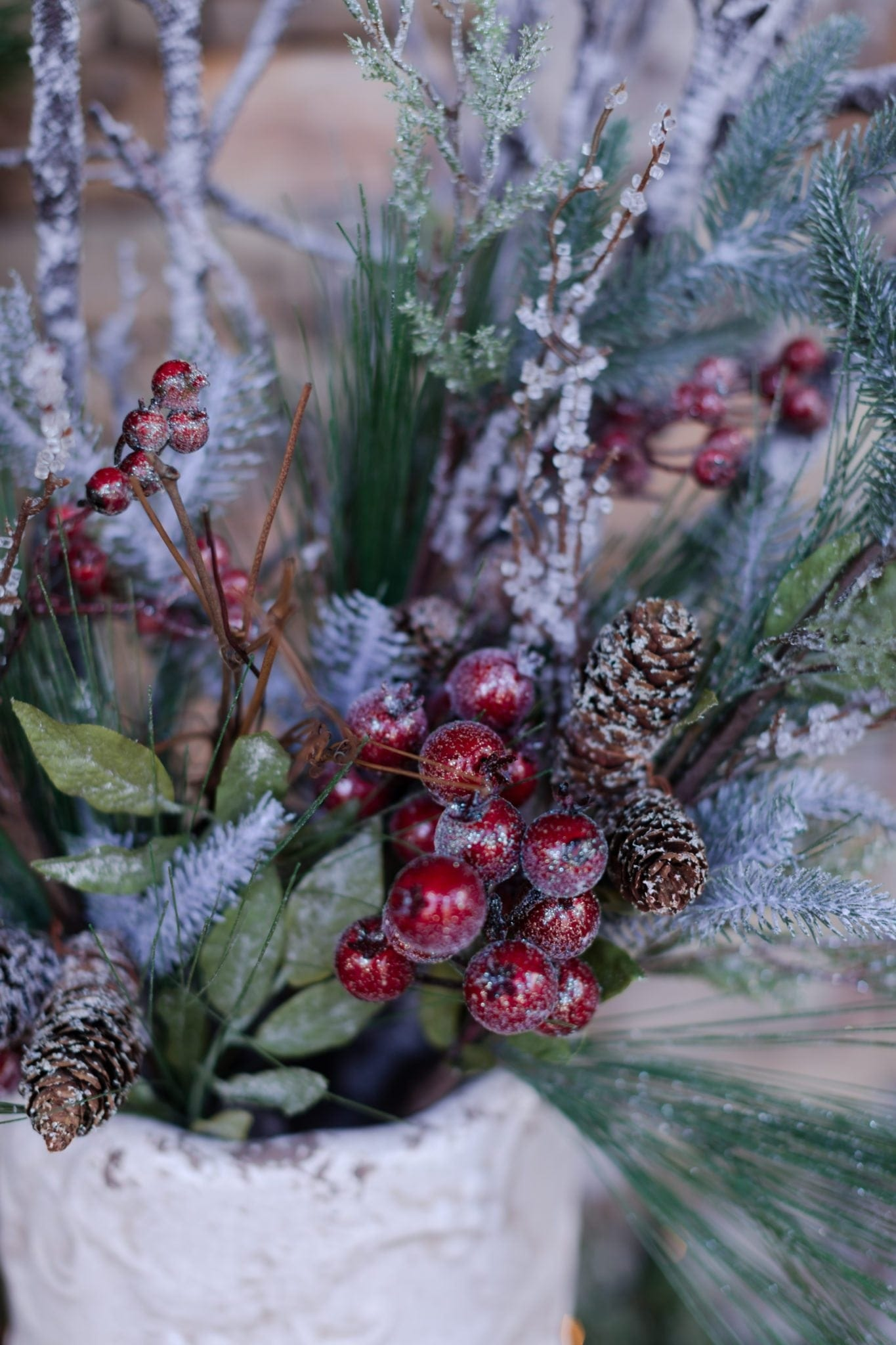 Christmas berries in outdoor decor.