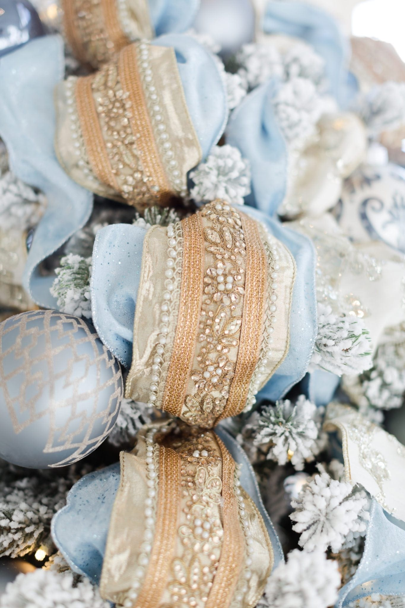 Gold embellished ribbon. Frontgate holiday collection ribbon and Frontgate ornaments.