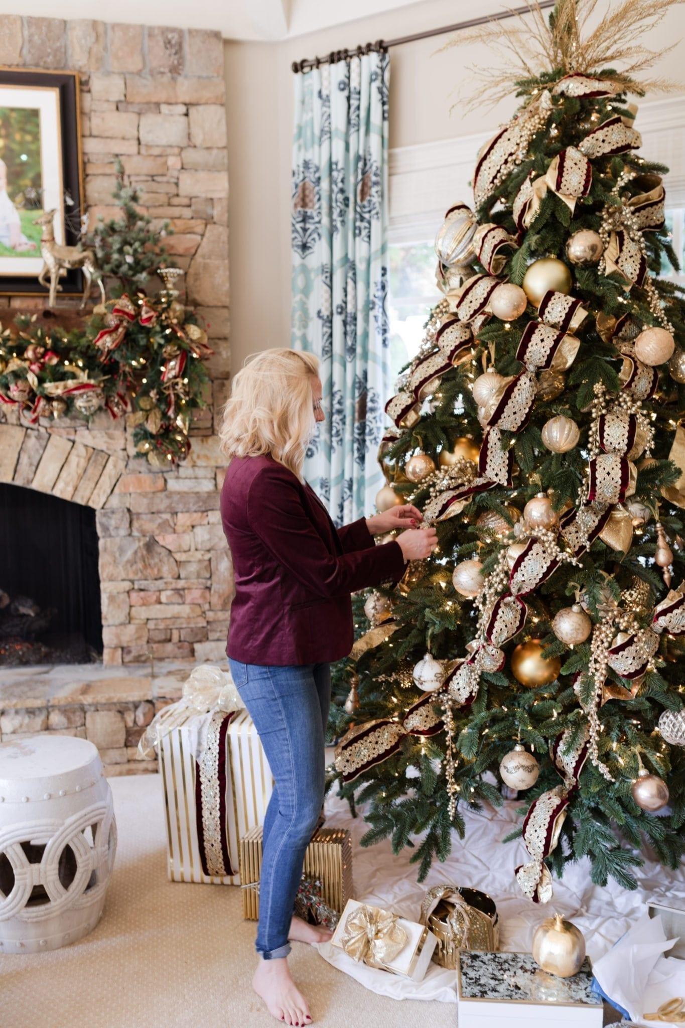 Burgundy Velvet Blazer from Banana Republic. Gold and red Christmas tree.