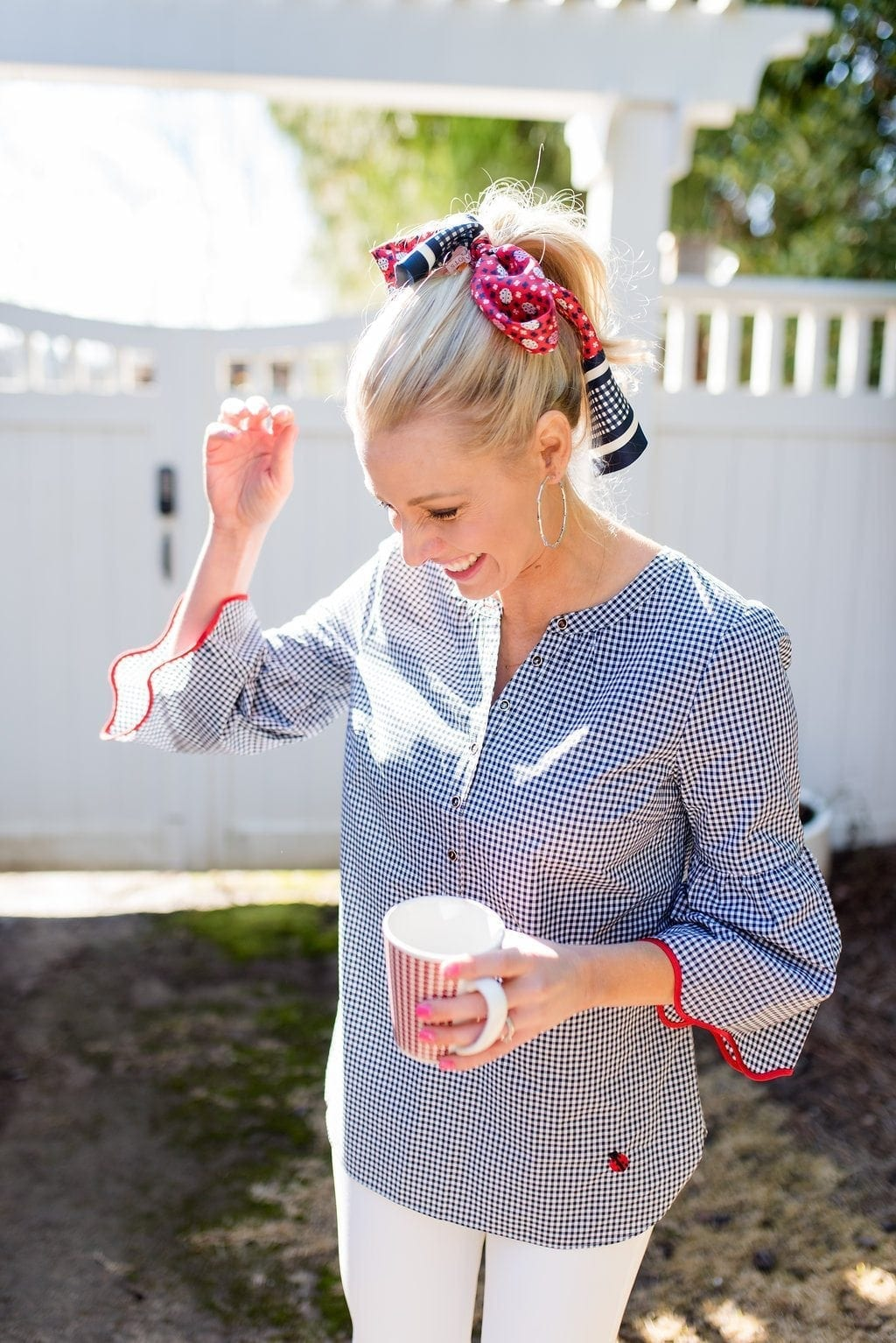 How to wear red white and blue. Cute way to wear a scarf around a ponytail.