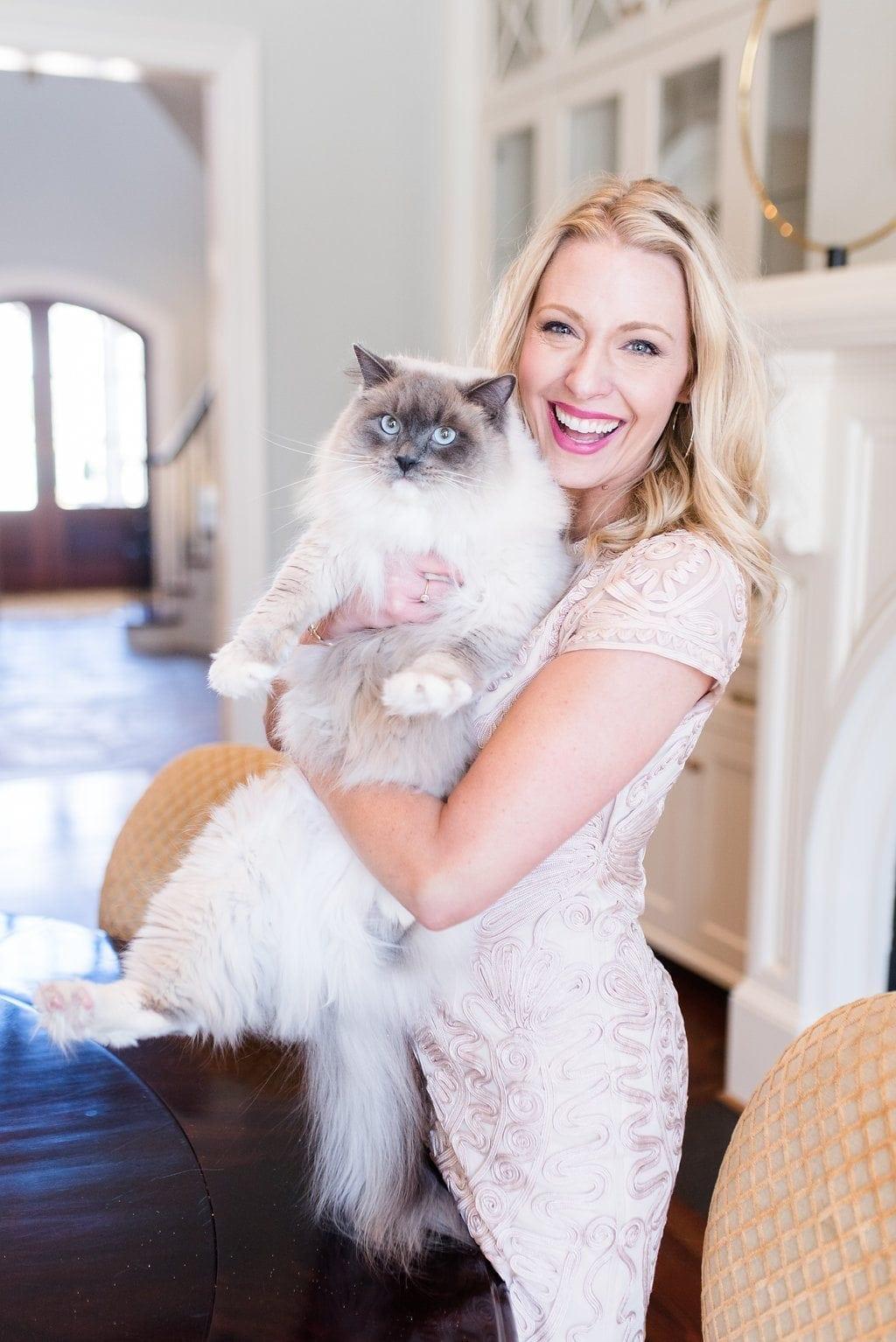 Ragdoll cat and Atlanta blogger, bluegraygal. Nordstrom top dresses.