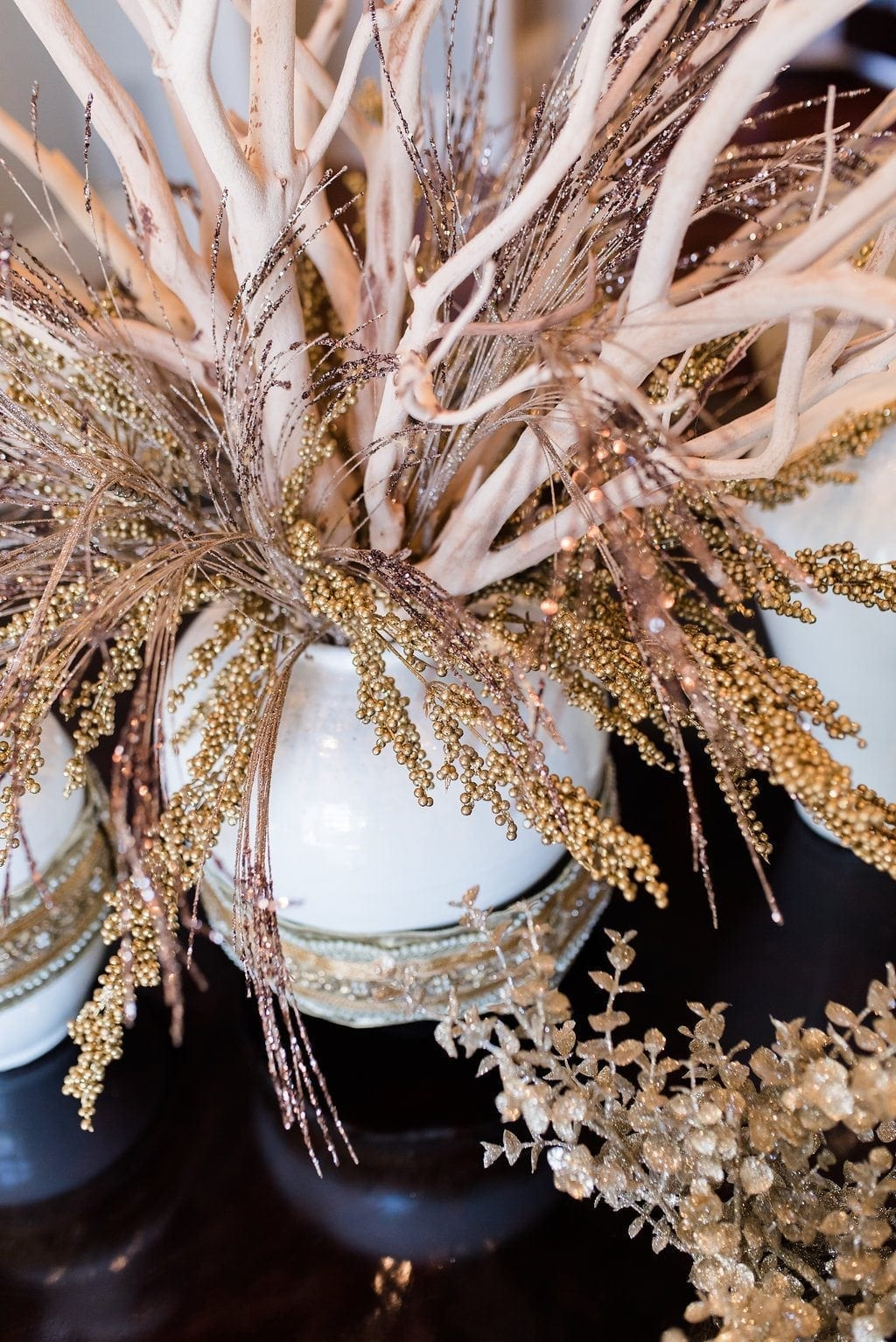 Gold Centerpiece mixed with Manzanita branches for large centerpiece.