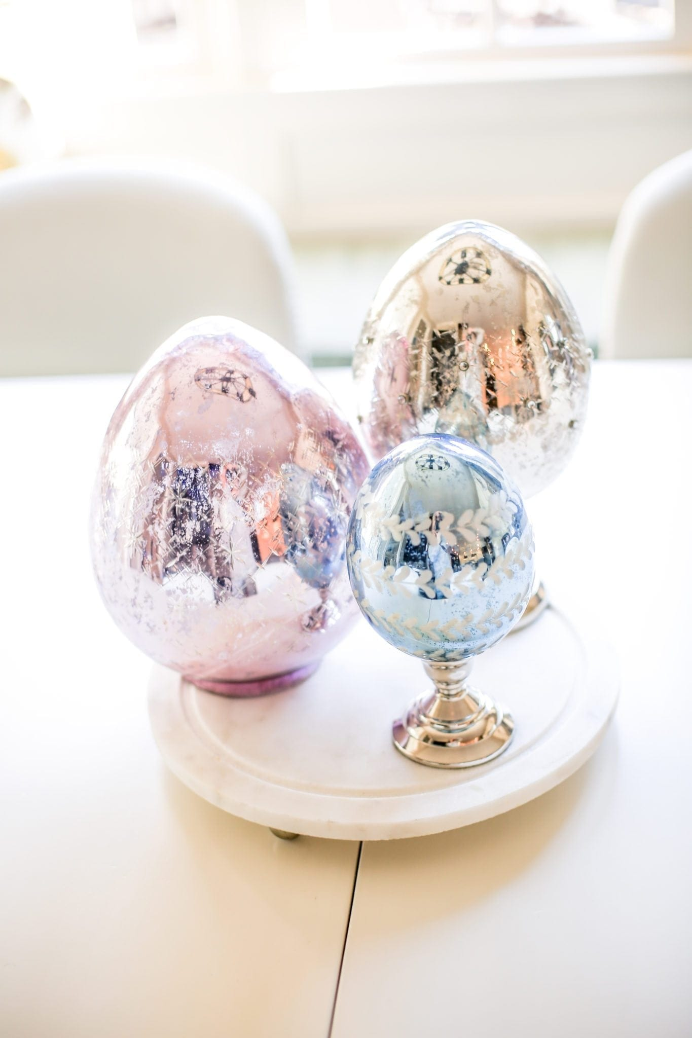 Mercury Glass Eggs on Pedestals. Easter egg decorations.