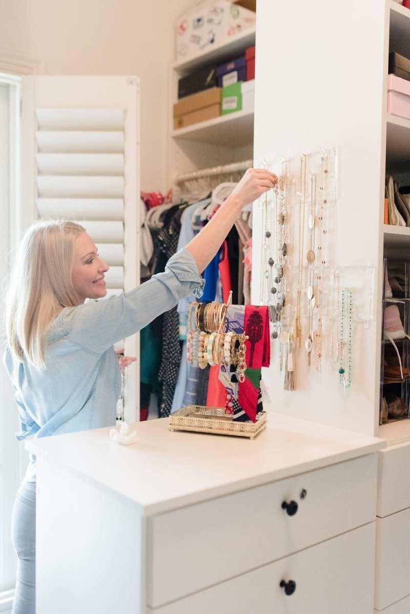 California Closets Atlanta and tips to organize a walk in closet. Hanging jewelry organizer.