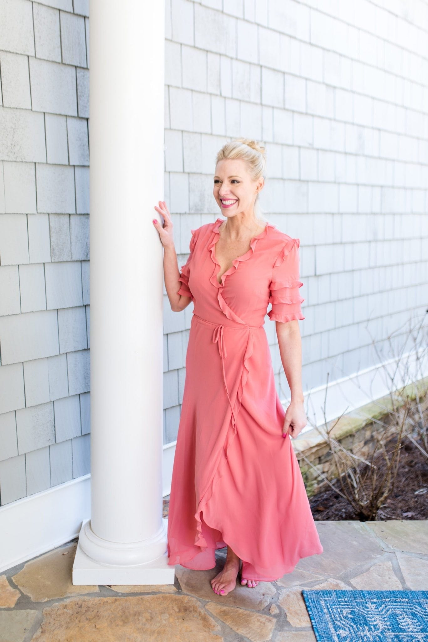 Ruffle Maxi dress with ruffles. Coral dress for spring.