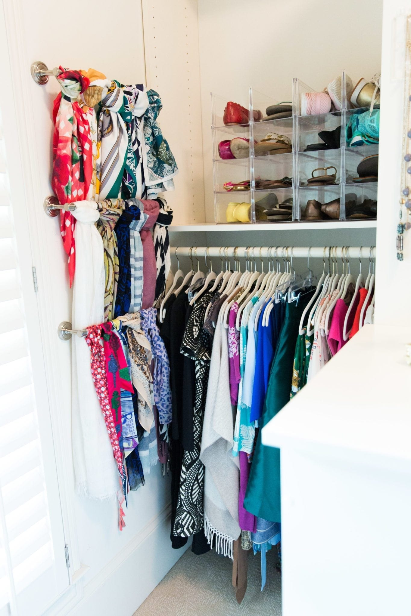Shoe divider and scarf rack.