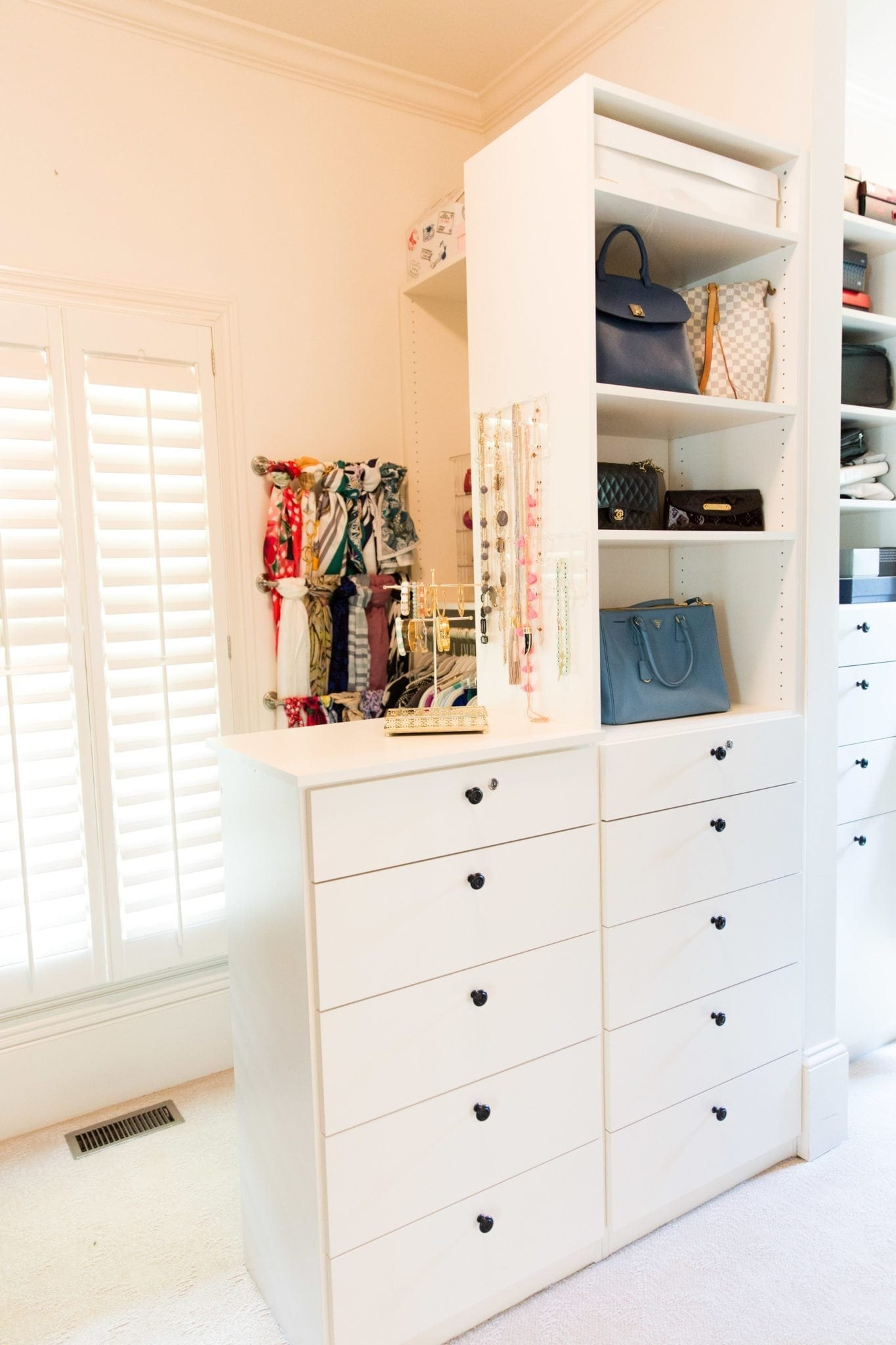 Closet storage ideas and closet organization tips.