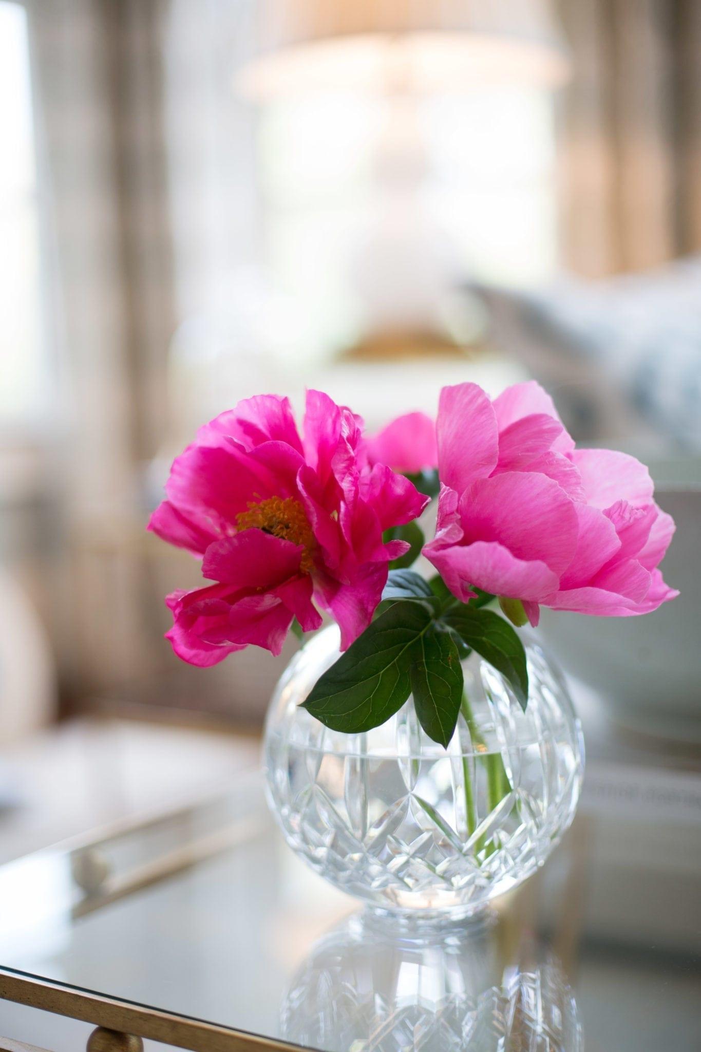 Dark pink peony blooms in flower arrangement.