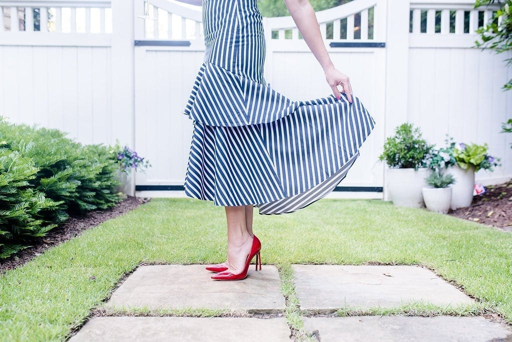 Banana Republic Skirt. Navy and white stripe ruffle skirt with red shoes. Fourth of July outfit!