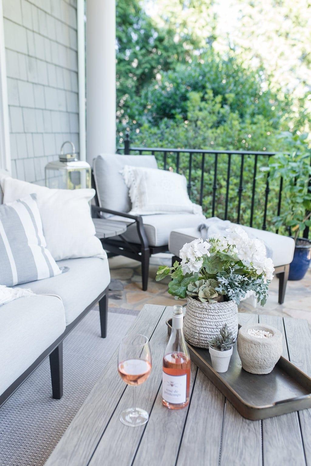Outdoor decor. Sunbrella fabric covered Woodard Outdoor furniture.