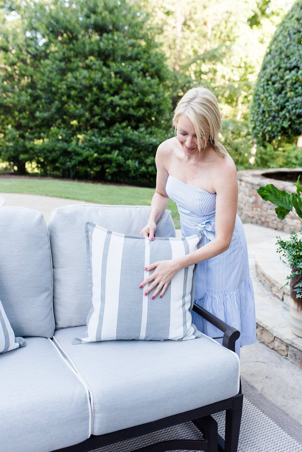 Serena and Lily outdoor pillows in gray and white stripe.