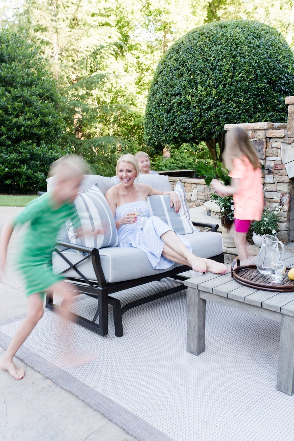 Atlanta Homes and Lifestyle. Lifestyle blogger, bluegraygal, and her children in their Atlanta area home.