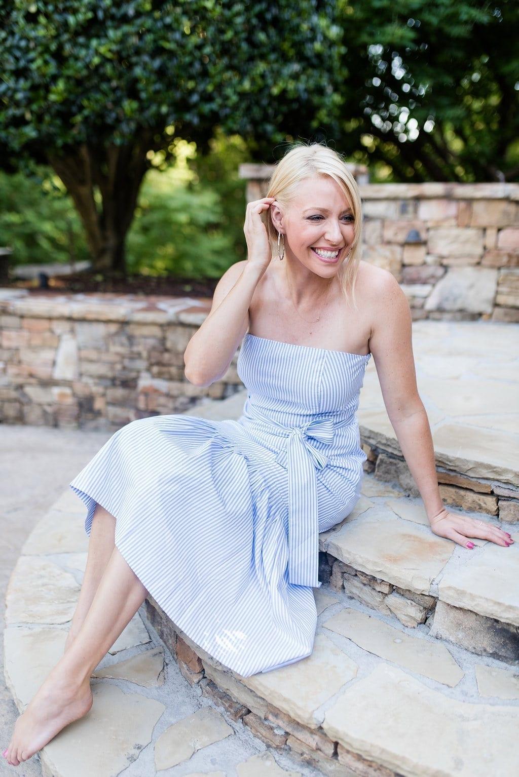Blue and white stripe strapless dress.
