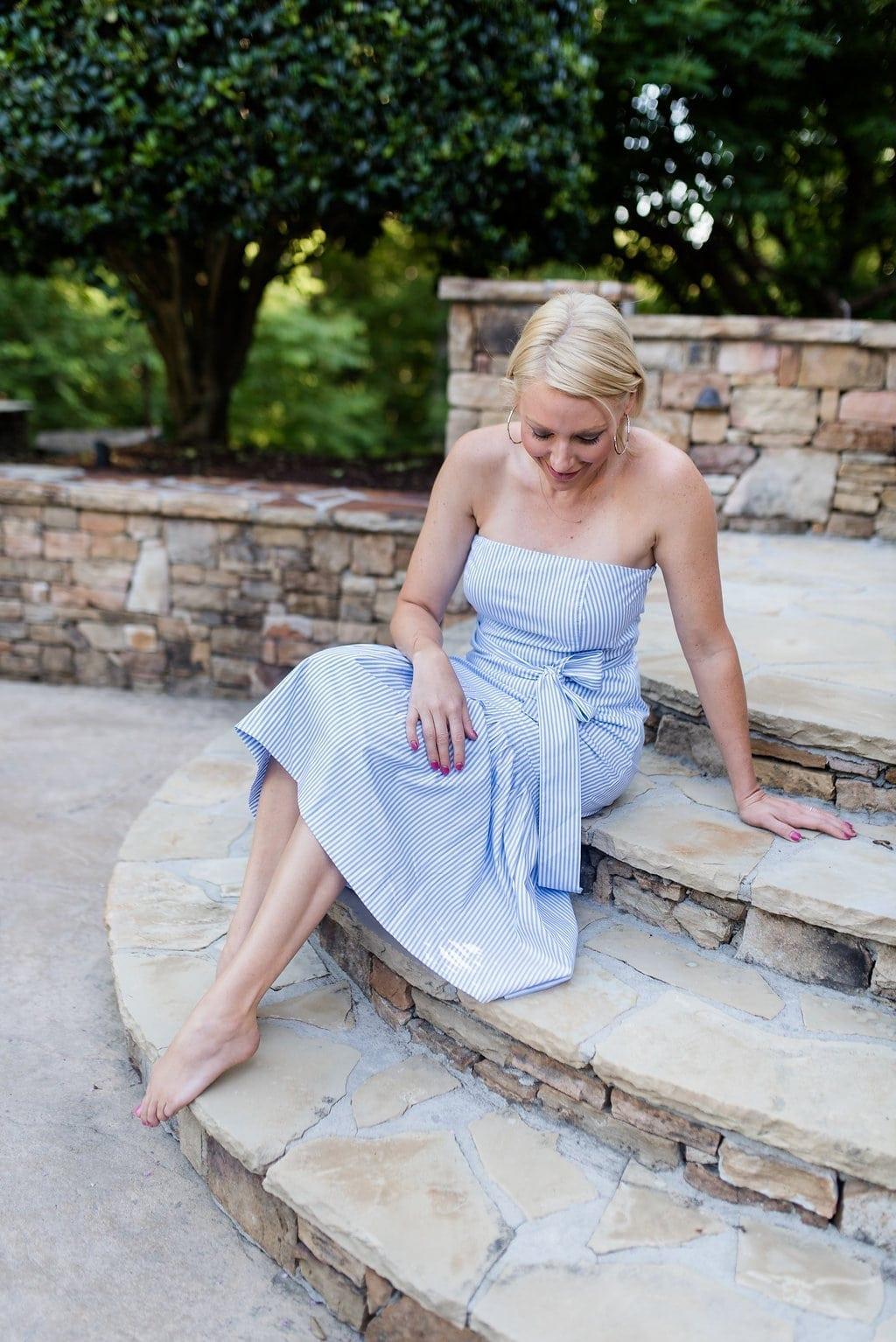 Strapless stripe dress. Pretty summer wedding outfit.