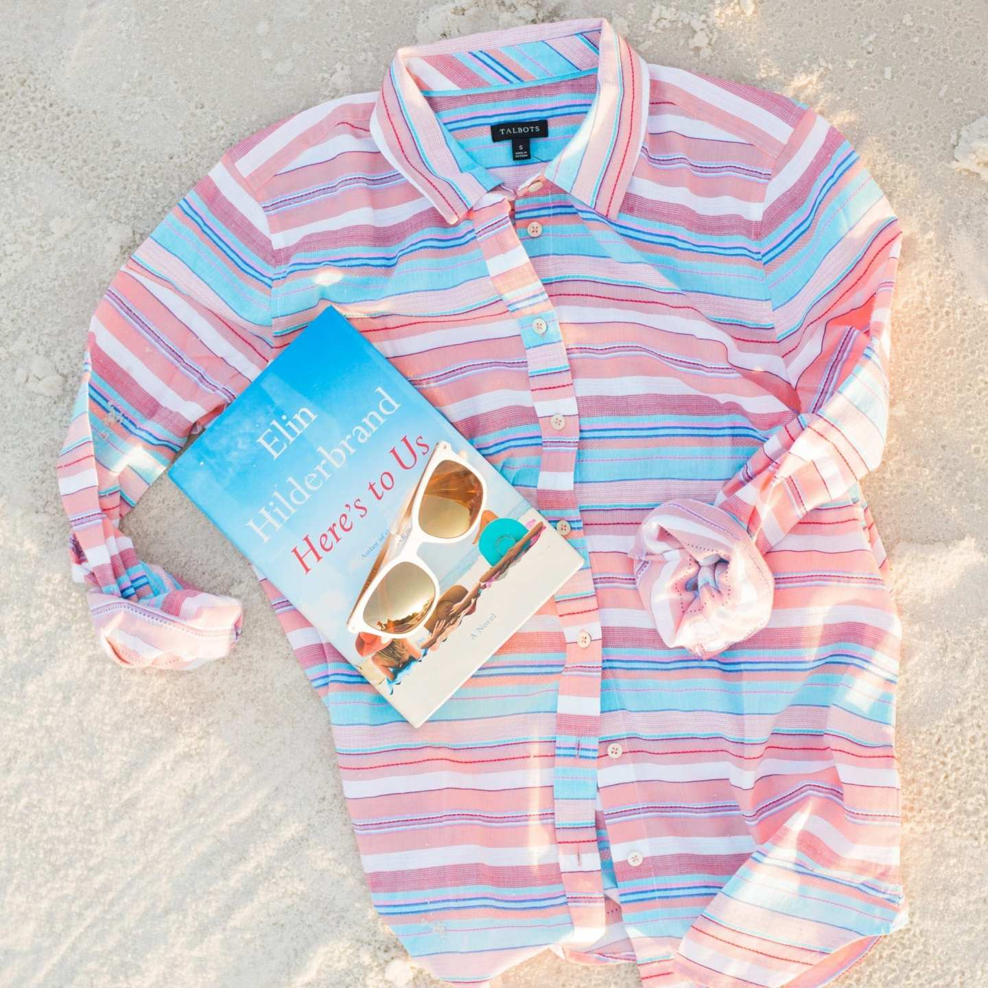 Talbots Sunglasses and book by Elin Hilderbrand.